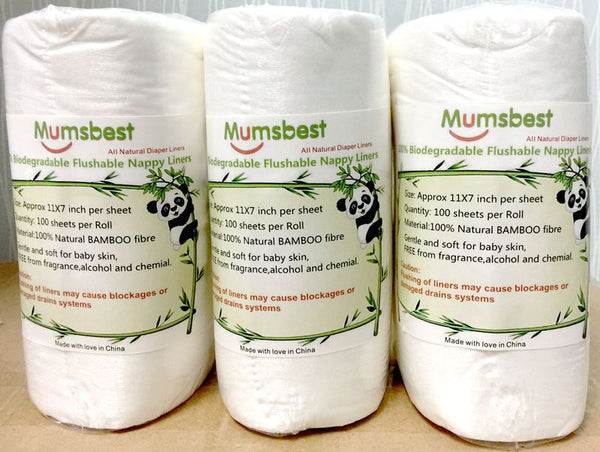 300Pcs Baby Disposable Liner Rolls Diapers Biodegradable & Flushable Nappy Liners 100% Bamboo