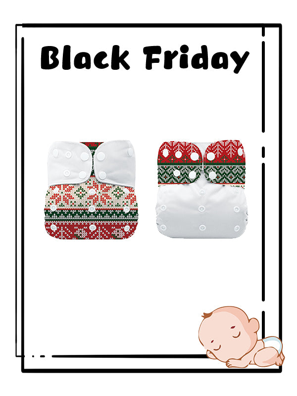 Mumsbest--2Pack Christmas Cloth Nappy with tummy panel