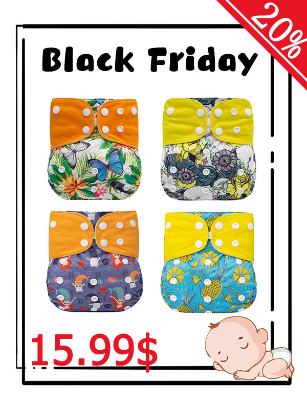 4Pack Square Colorful Suede Cloth Diaper