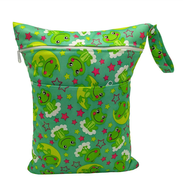Washable Wet Bag For Diapers Nappy Bag Waterproof Travel Bag With 2 Pocket Size:30*40cm
