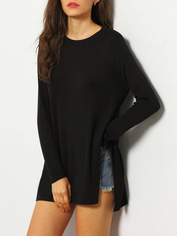Black Dip Hem Split Side Casual T-shirt