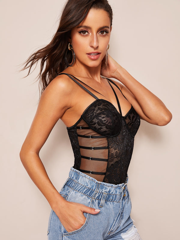 Floral Lace Harness Sheer Teddy Bodysuit