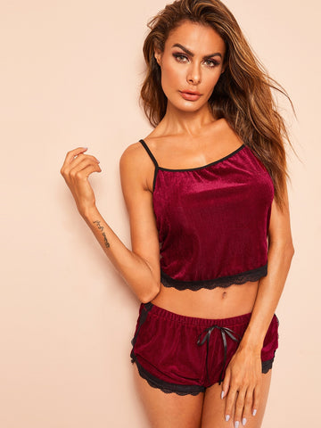 Lace Trim Velvet Cami Pajama Set