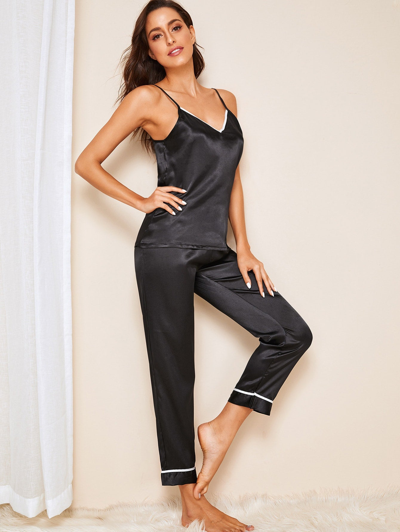 Contrast Binding Satin Cami PJ Set