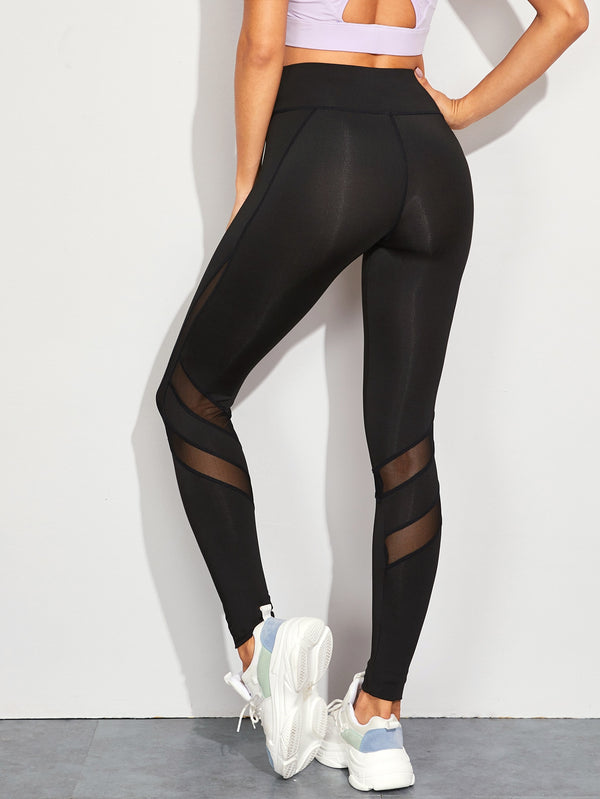 Contrast Mesh High Rise Skinny Leggings