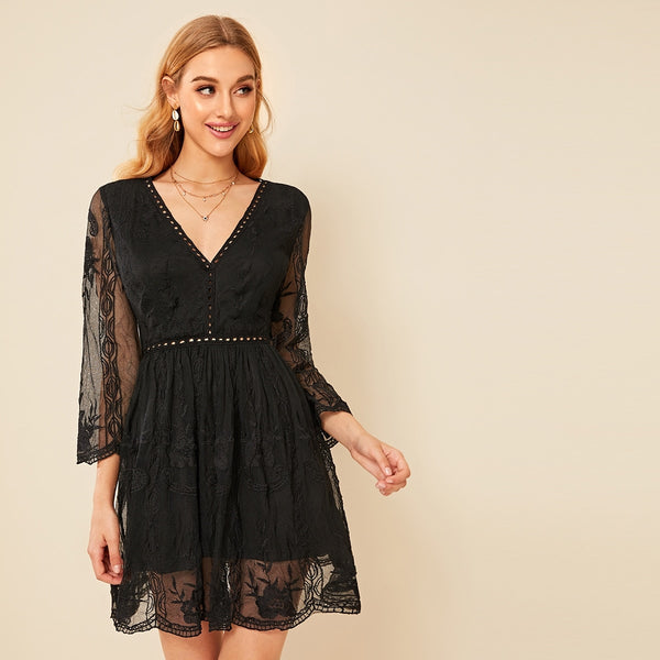 Lace Overlay Cut-out Sheer Dress
