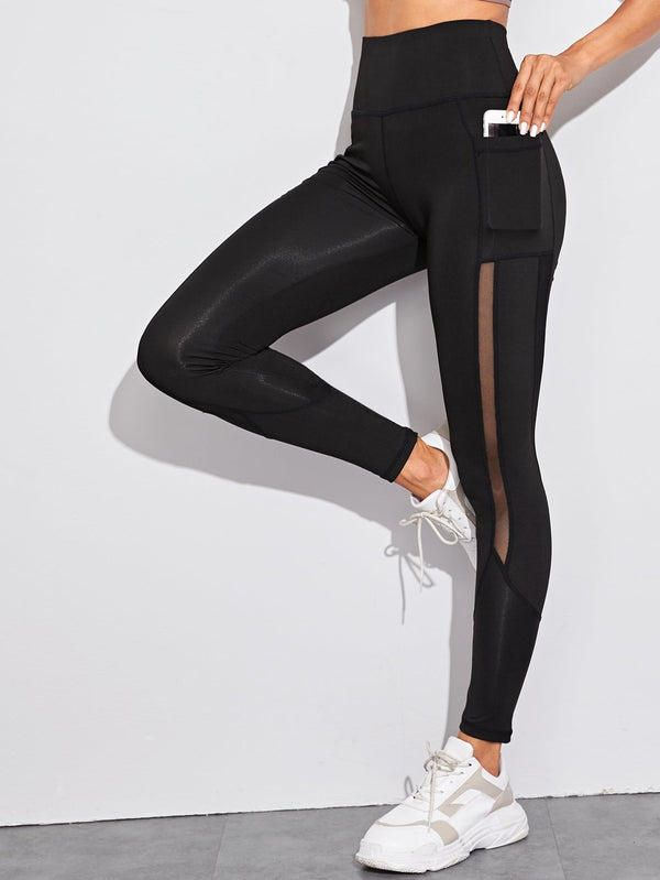 Mesh Insert Pocket Detail Skinny Leggings
