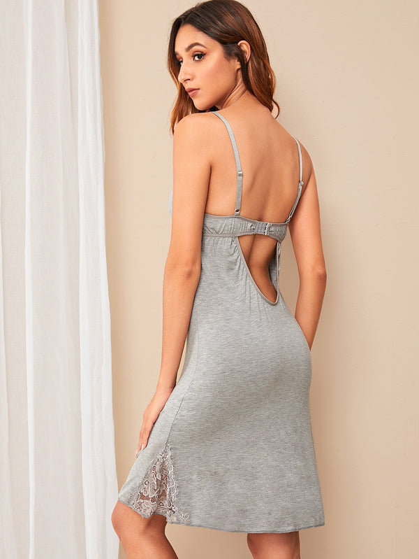 Floral Lace Cut-out Back Cami Dress
