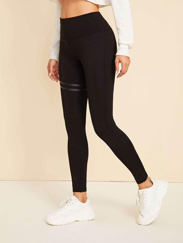 Striped Panel Wide Band Waist Leggings
