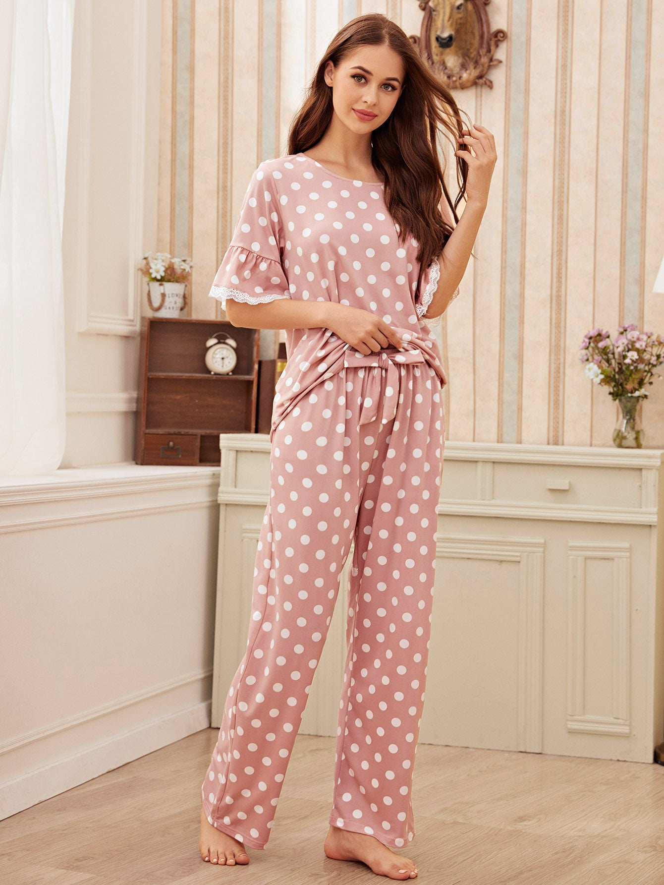 Polka Dot Lace Trim Pajama Set