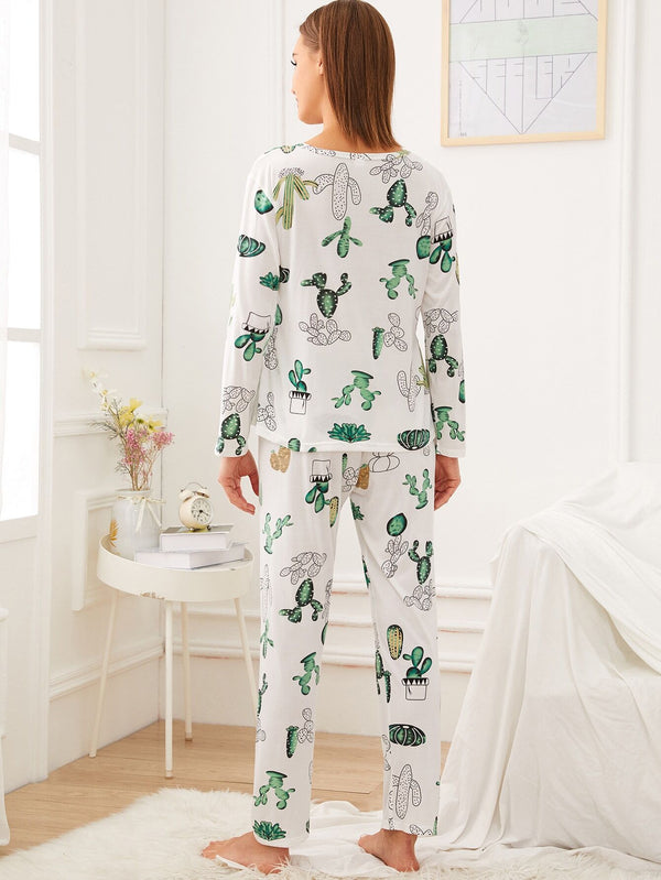 Cactus Print Pajama Set With Eye Mask