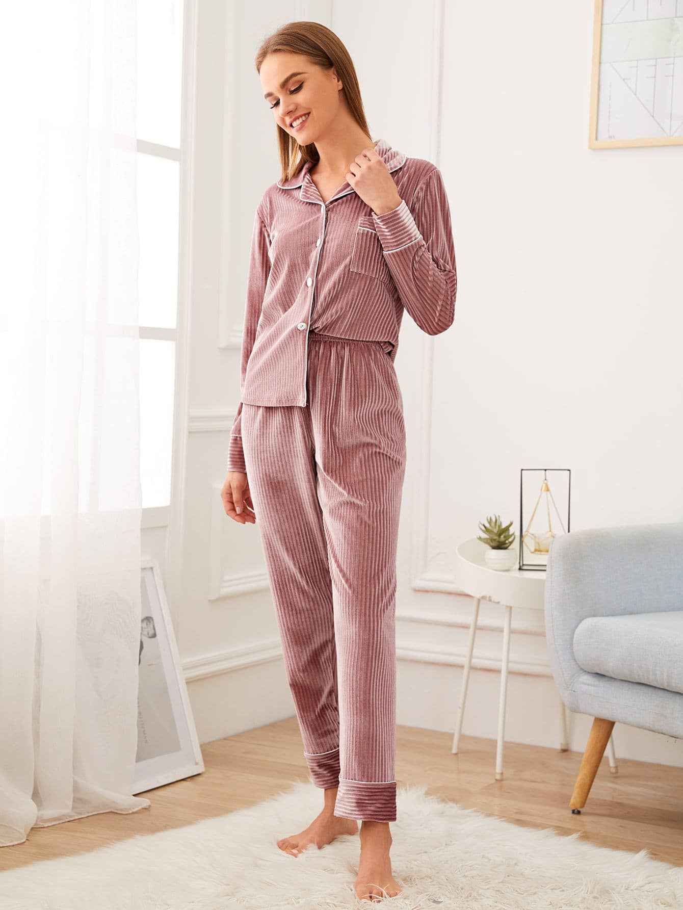 Textured Button Front Velvet Pajama Set