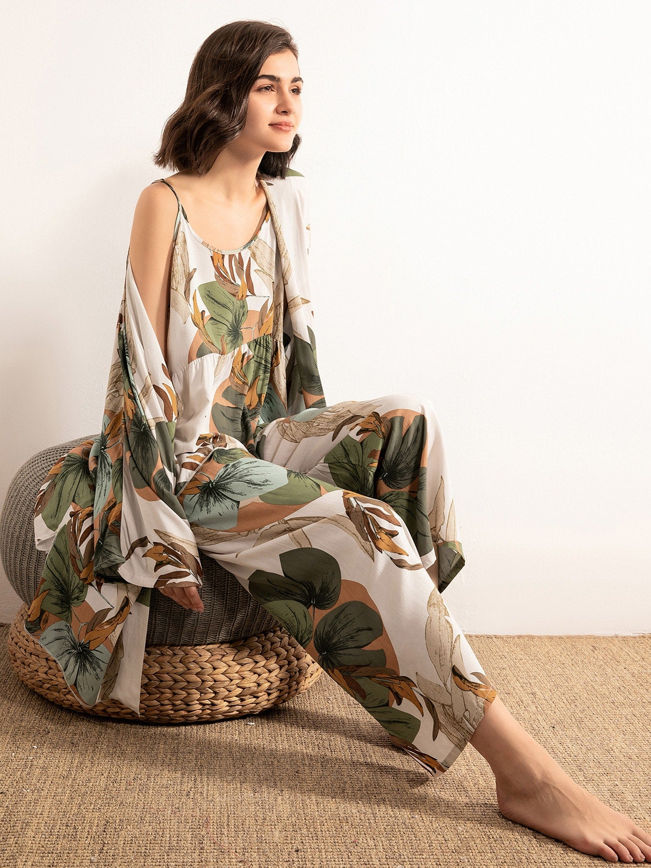 Leaf Print Cami PJ Set With Robe
