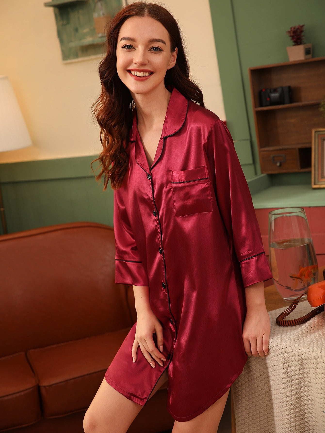 Contrast Binding Satin Shirt Dress
