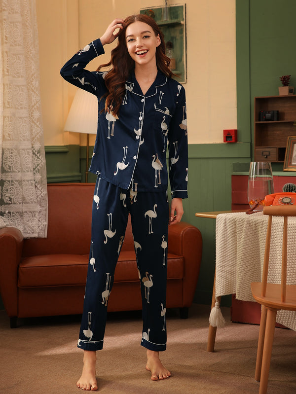 Flamingo Print Satin PJ Set