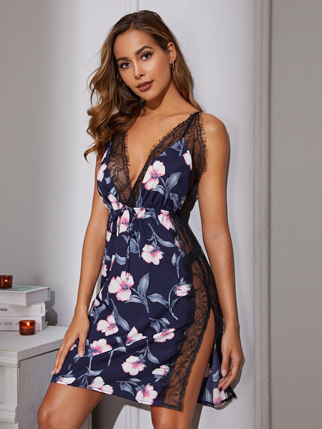 Floral Print Lace Trim Split Side Satin Dress