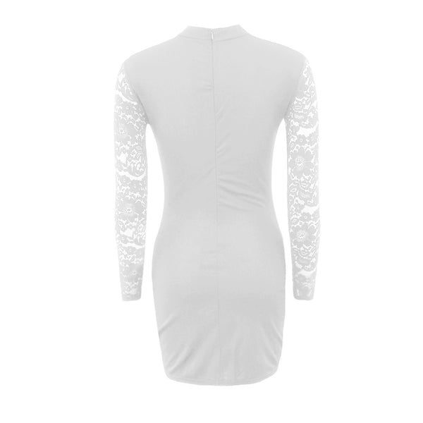 Women's Choker Daily Going out Club Street chic Sophisticated Bodycon Sheath Dress - Solid Colored Lace Spring White Black