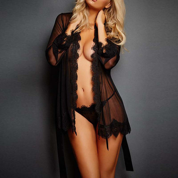 Women's Super Sexy Lace Lingerie / Robes / Ultra Sexy Nightwear Solid Colored Black Blushing Pink Purple XL XXL One-Size / Deep V