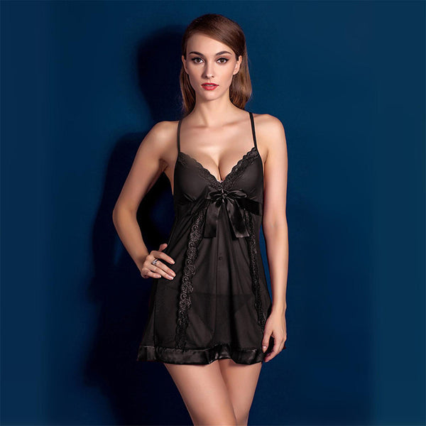 Women's Sexy Lace Lingerie / Ultra Sexy / Uniforms & Cheongsams Nightwear - Lace Solid Colored Black Wine
