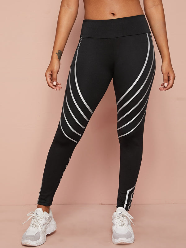 Striped Wide Band Waist Sports Leggings