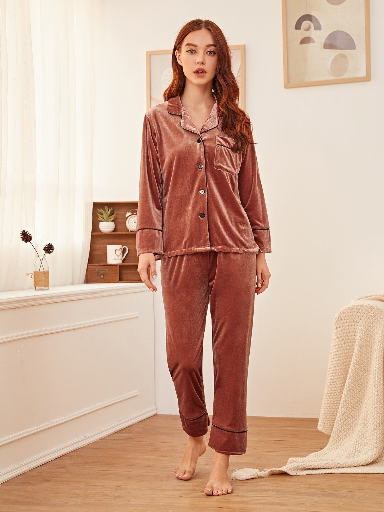 Button Front Velvet PJ Set