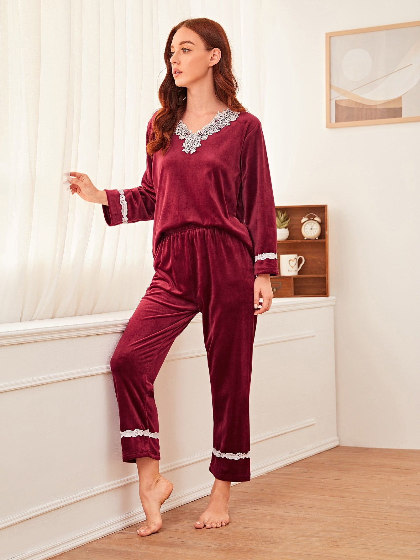 Lace Trim Velvet PJ Set