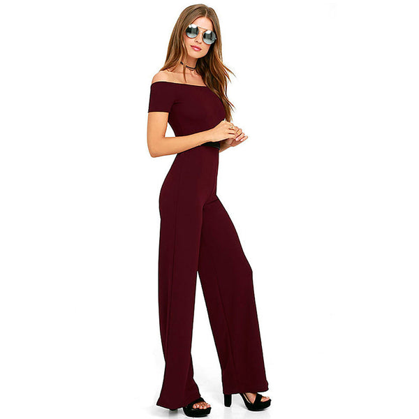 Women's Street chic / Sophisticated Black Wine Jumpsuit, Solid Colored Backless