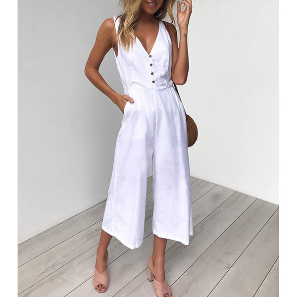 Women's Daily Deep V White Black Khaki Wide Leg Jumpsuit, Solid Colored Tassel  Sleeveless Spring Summer