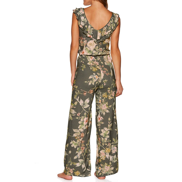 Women's Green Wide Leg Jumpsuit, Floral L XL XXL