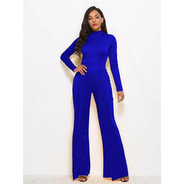 Women's Plus Size Daily Street chic Turtleneck Wine Army Green Royal Blue Wide Leg Jumpsuit, Solid Colored  Long Sleeve Spring Fall