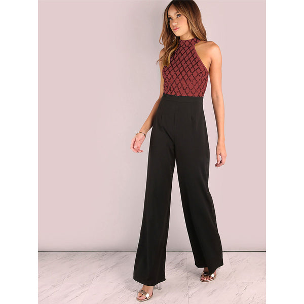 Women's Street chic / Sophisticated Blue Gold Red Jumpsuit, Solid Colored / Color Block Backless / Sequins