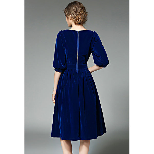Women's Velvet Club Butterfly Sleeves Lace Dress - Solid Colored Blue, Lace Winter Blue Wine