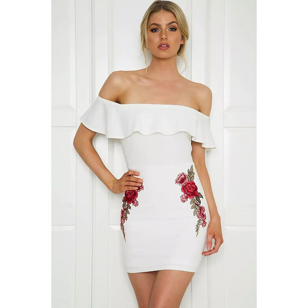 Women's Slim Sheath Dress - Solid Colored Geometric Off Shoulder White