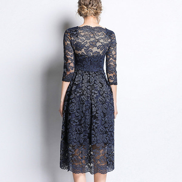 Women's Swing Dress - Solid Colored Lace Navy Blue