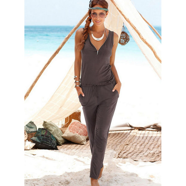 Women's Street chic V Neck Brown Black Army Green Pencil Jumpsuit, Solid Colored Zipper / Fashion Spring Summer Fall / Winter
