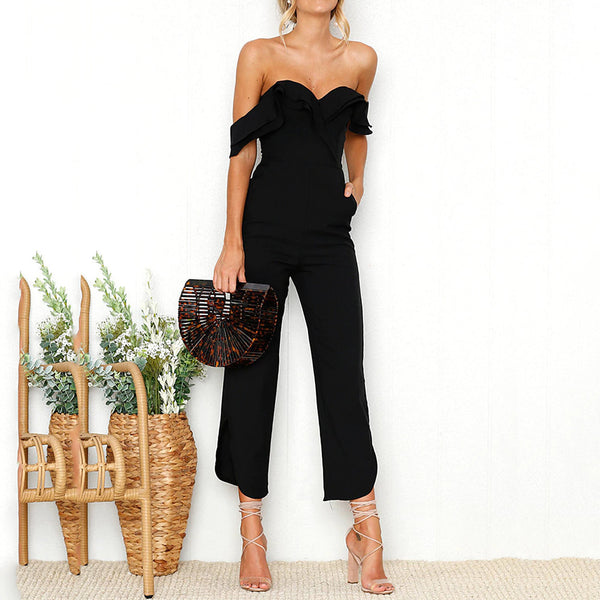 Women's Off Shoulder Going out Street chic / Sophisticated Off Shoulder Black Jumpsuit, Solid Colored / Camo / Camouflage Backless / Ruffle High Waist Sleeveless