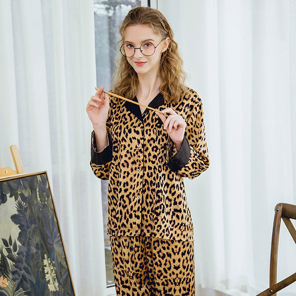 Women's Shirt Collar Suits Pajamas Leopard