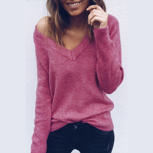 Women's Solid Colored Pullover Fall / Winter Pink / Wine / Light gray