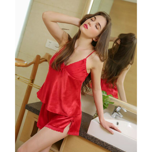 Women's Super Sexy Satin & Silk / Suits Nightwear - Lace / Backless / Bow Solid Colored Red One-Size / Deep V