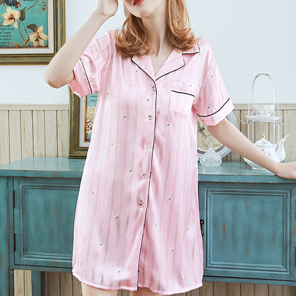 Women's Satin & Silk Nightwear - Ruched Solid Colored Blushing Pink M L XL / Shirt Collar