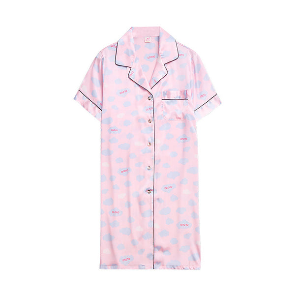 Women's Satin & Silk Nightwear - Ruched Solid Colored Blushing Pink Shirt Collar