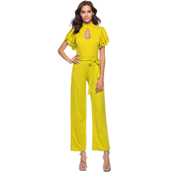 Women's Daily Street chic Crew Neck Black Yellow Fuchsia Wide Leg Jumpsuit, Solid Colored  Short Sleeve