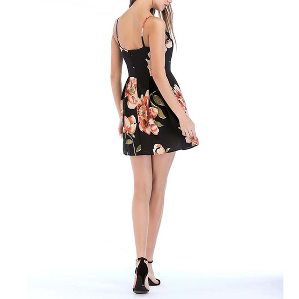 Women's Basic Sheath Dress - Floral Black