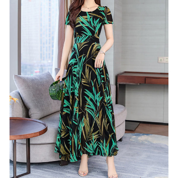 Women's Street chic Swing Dress - Striped Floral Print Green Red Yellow