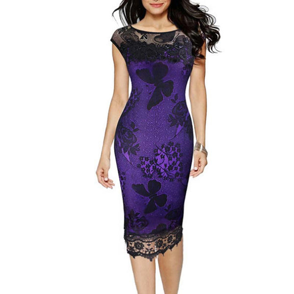 Women's Basic Sheath Dress - Solid Colored Mesh Black Red Purple