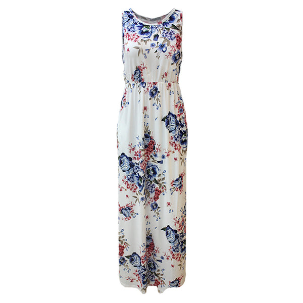 Women's Vintage Boho Shift Dress - Floral Patchwork Print Blue White