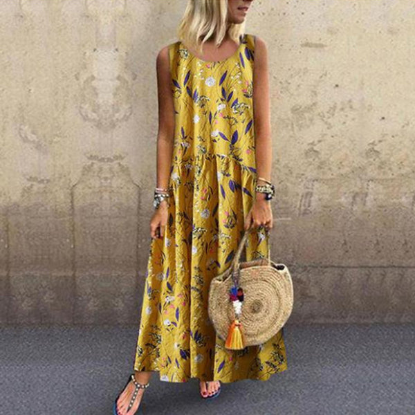Women's Boho Swing Dress - Color Block Patchwork Blue Green Yellow