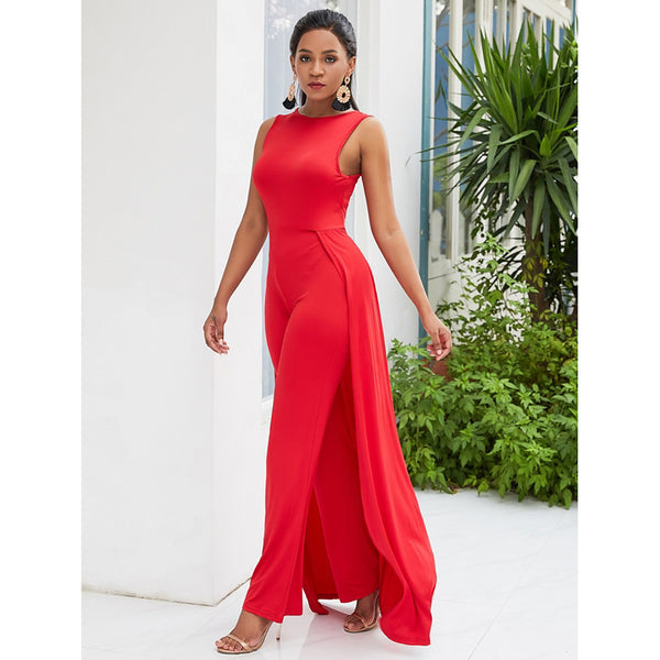 Women's Red Jumpsuit, Solid Colored L XL XXL