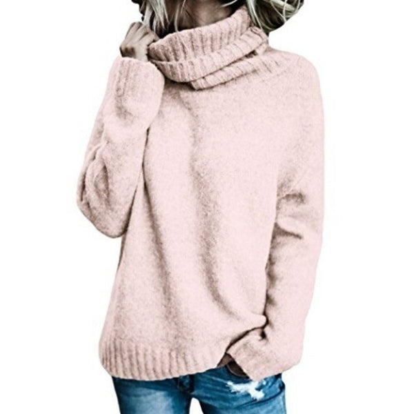 Women's Solid Colored Long Sleeve Slim Pullover, Turtleneck Black / Blushing Pink / Green