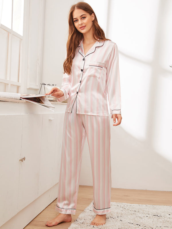 Striped Button-up Satin PJ Set